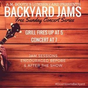 backyard jams free sunday concert series at a.m. booth's lumberyard