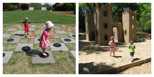 The giant checkerboard and huge sandbox!