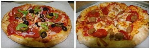 Pizzas are made to order and customized to your liking.