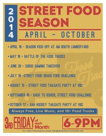 Street Food Season is coming up via Downtown Huntsville, Inc.!