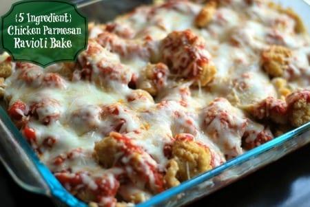{5 Ingredient} Chicken Parmesan Ravioli Bake final