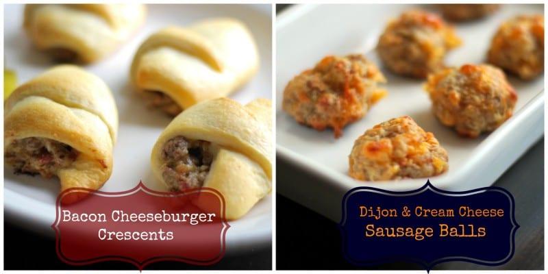 Bacon cheeseburger crescents and Dijon Cream Cheese Sausage balls