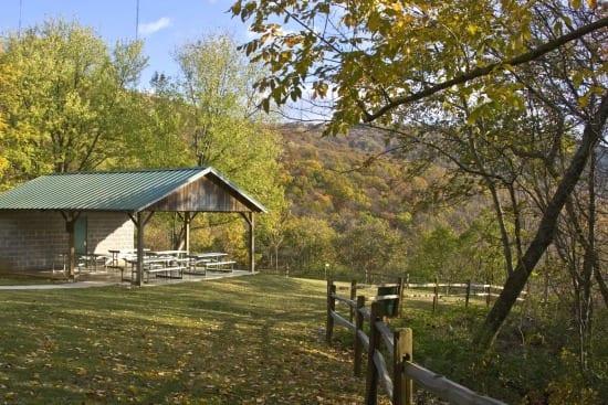 PavilionInFall Land Trust trail