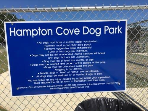Hampton Cove Dog Park rules