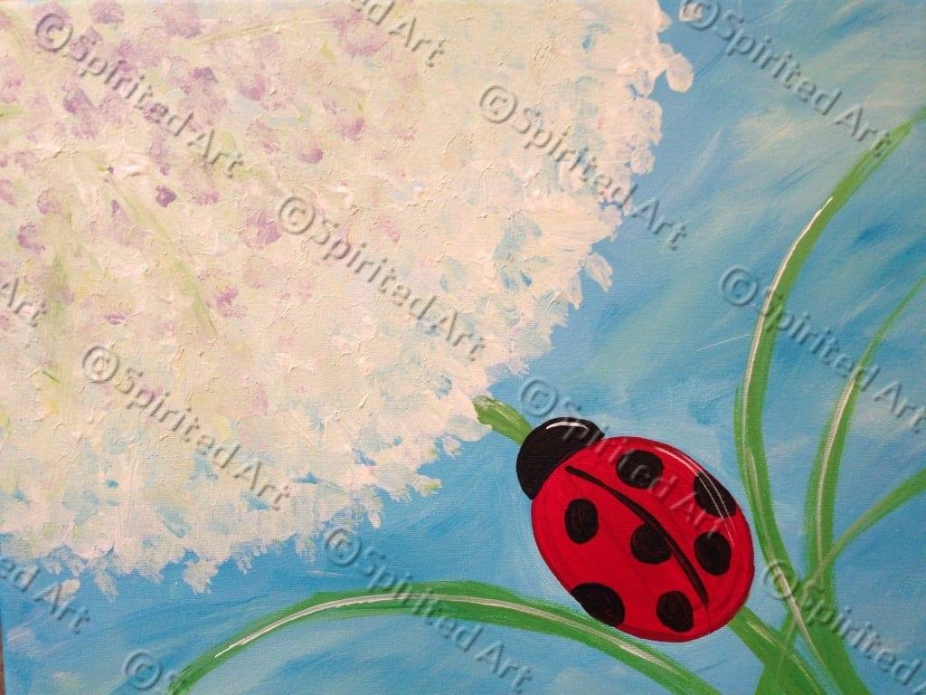 Spirited Art Calendar Huntsville Al : Dandelion and lady bug painting at spirited art rocket