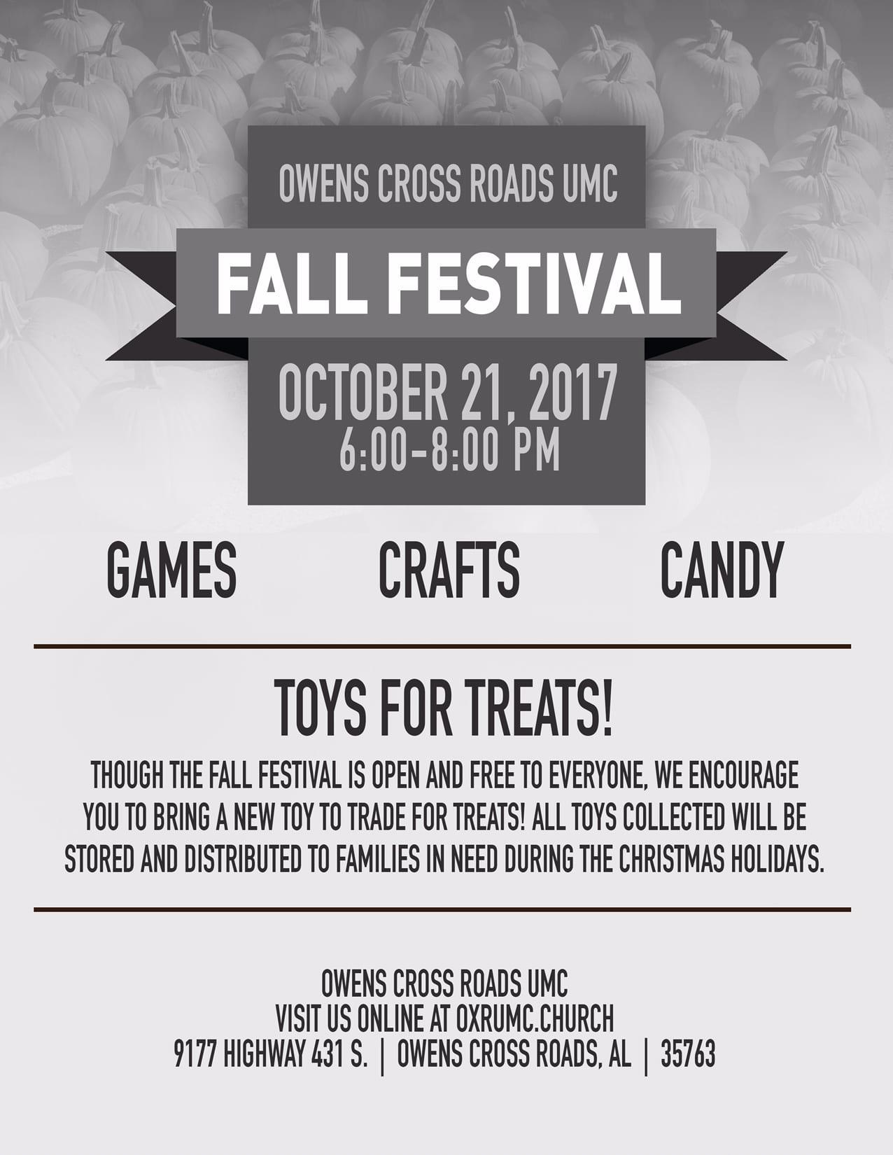 Fall Festival & Toys for Treats at Owens Cross Roads UMC