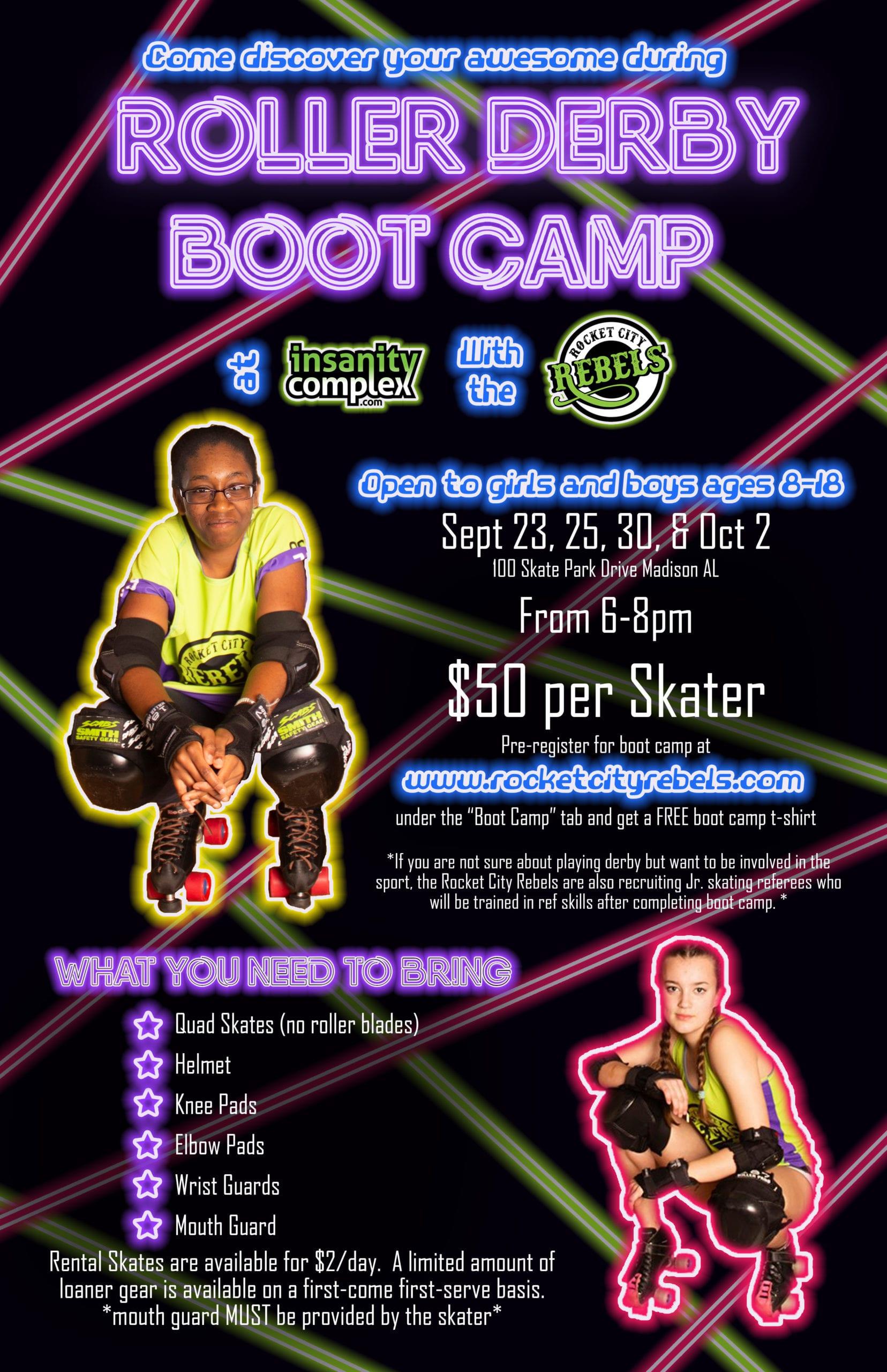 Rocket City Rebels Junior Roller Derby Boot Camp