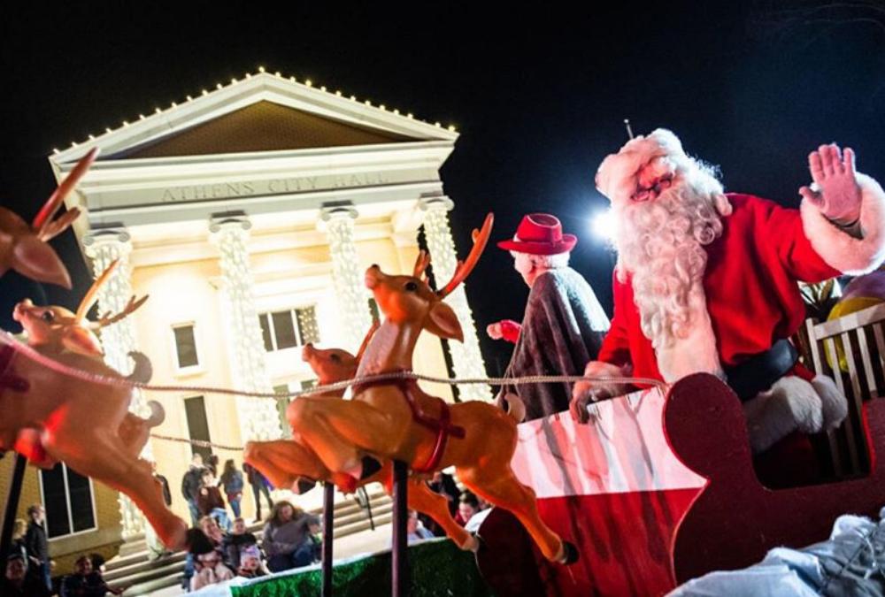 santa at the athens AL christmas parade